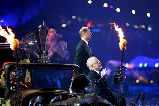 LONDON, ENGLAND - SEPTEMBER 09: Prince Edward, Earl of Wessex and President of the IPC Sir Philip Craven MBE observe the National Anthem during the closing ceremony on day 11 of the London 2012 Paralympic Games at Olympic Stadium on September 9, 2012 in London, England. (Photo by Peter Macdiarmid/Getty Images)