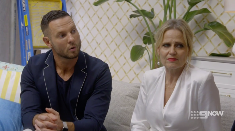 Darren Palmer and Shaynna Blaze shock at Mitch and Mark entertainment space on The Block