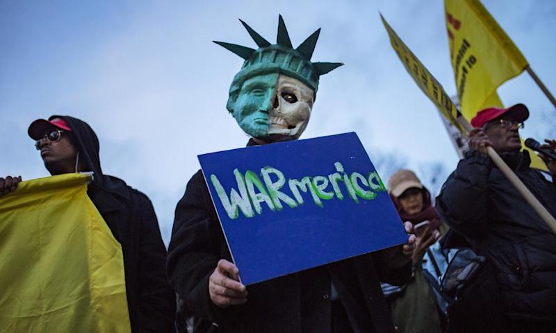 Protesters demonstrate in New York against the US missile strike in Syria