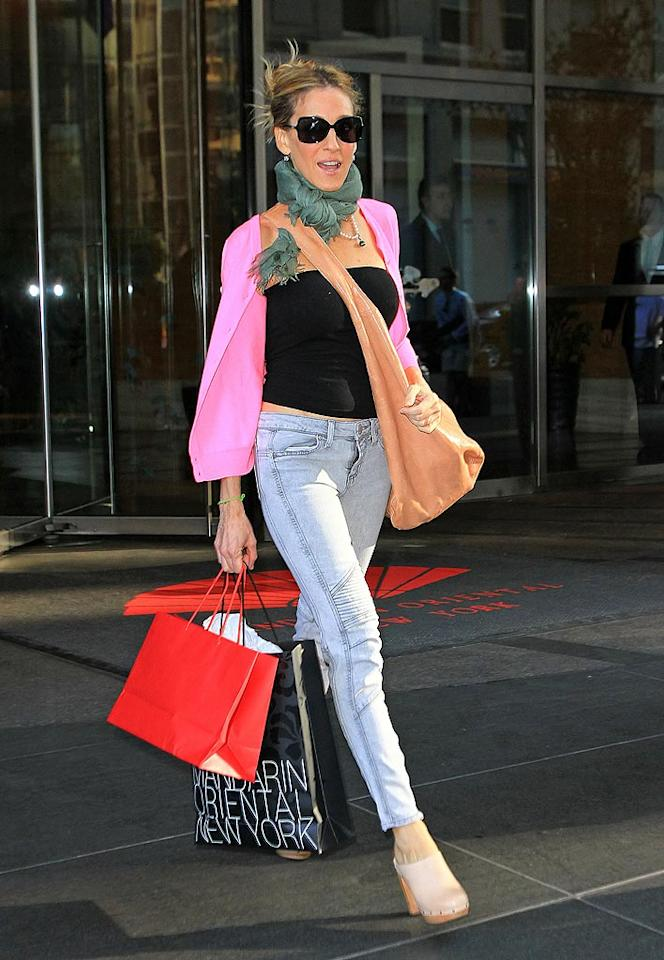 """There's no denying Sarah Jessica Parker's status as a style icon. But that doesn't mean the """"Sex and the City"""" star isn't capable of stepping out in a catastrophic article of clothing every now and again, like this tragic pair of acid wash trousers. Jackson Lee/<a href=""""http://www.splashnewsonline.com"""" target=""""new"""">Splash News</a> - May 18, 2010"""