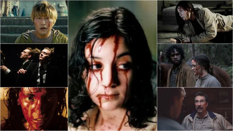 Clockwise from top left: The Host (Screenshot); Let The Right One In  (Screenshot); The Tall Man (Screenshot);The Nightingale (IFC Films); The Clovehitch Killer (Screenshot); Inside  (Screenshot);High-Rise (Screenshot)
