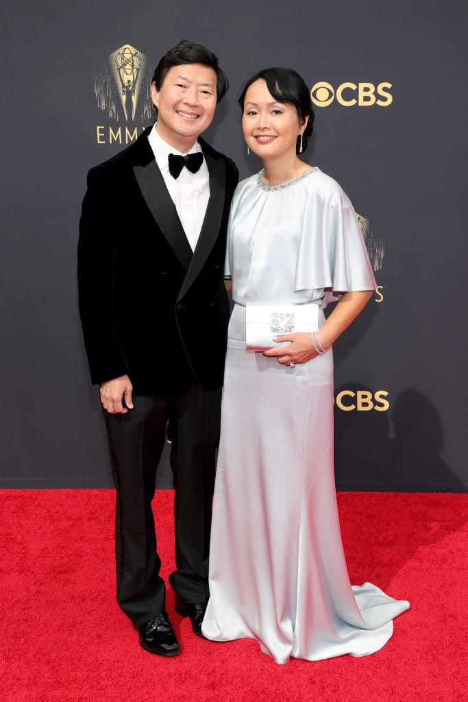 Ken Jeong and his wife, Tran, attend the 73rd Primetime Emmy Awards on Sept. 19 at L.A. LIVE in Los Angeles. (Photo: Rich Fury/Getty Images)