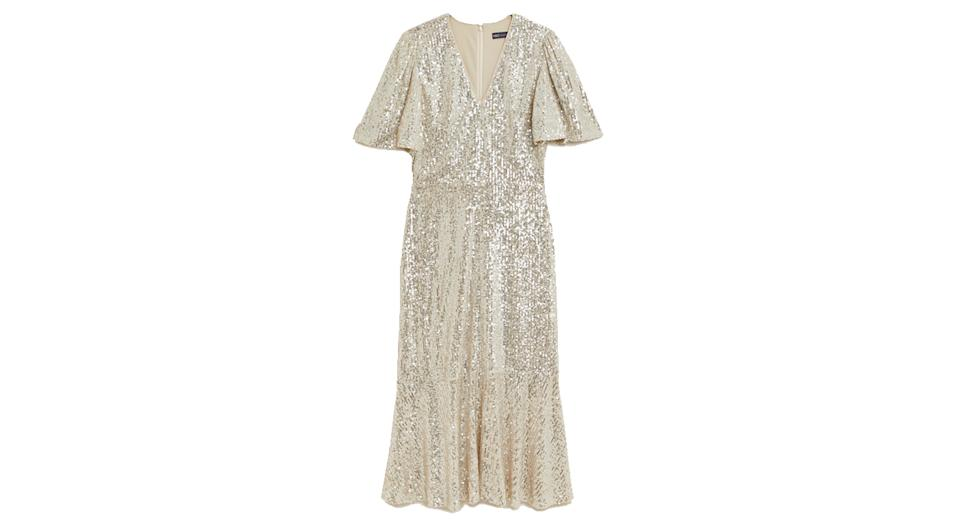 Sequin V-Neck Midi Tea Dress