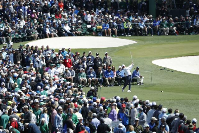 Rory McIlroy of Northern Ireland hits from the third tee during final round play of the 2018 Masters golf tournament at the Augusta National Golf Club in Augusta, Georgia, U.S. April 8, 2018. REUTERS/Jonathan Ernst