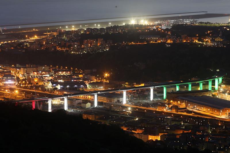 GENOA, ITALY - MAY 03: General views of the new Genoa bridge light up with the italian flag colours on May 03, 2020 in Genoa, Italy. The Genoa bridge has been built in about two years after the collapsing of the Morandi bridge on 14 August 2018, where 43 people lost their lives. (Photo by Fabio Bussalino/Getty Images) (Photo: Fabio Bussalino via Getty Images)