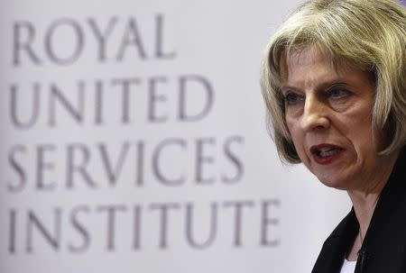 Britain's Home Secretary Theresa May delivers a speech at RUSI (Royal United Services Institute) in central London, November 24, 2014. REUTERS/Toby Melville