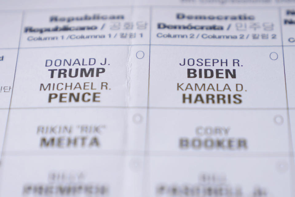 A New Jersey mail-in ballot is seen in Englewood, N.J., Tuesday, Oct. 13, 2020. (AP Photo/Seth Wenig, File)