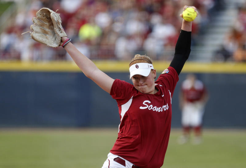 Oklahoma's Michelle Gascoigne pitches against Tennessee in the third inning of the second game of the best of three Women's College World Series NCAA softball championship series in Oklahoma City, Tuesday, June 4, 2013. (AP Photo/Sue Ogrocki)