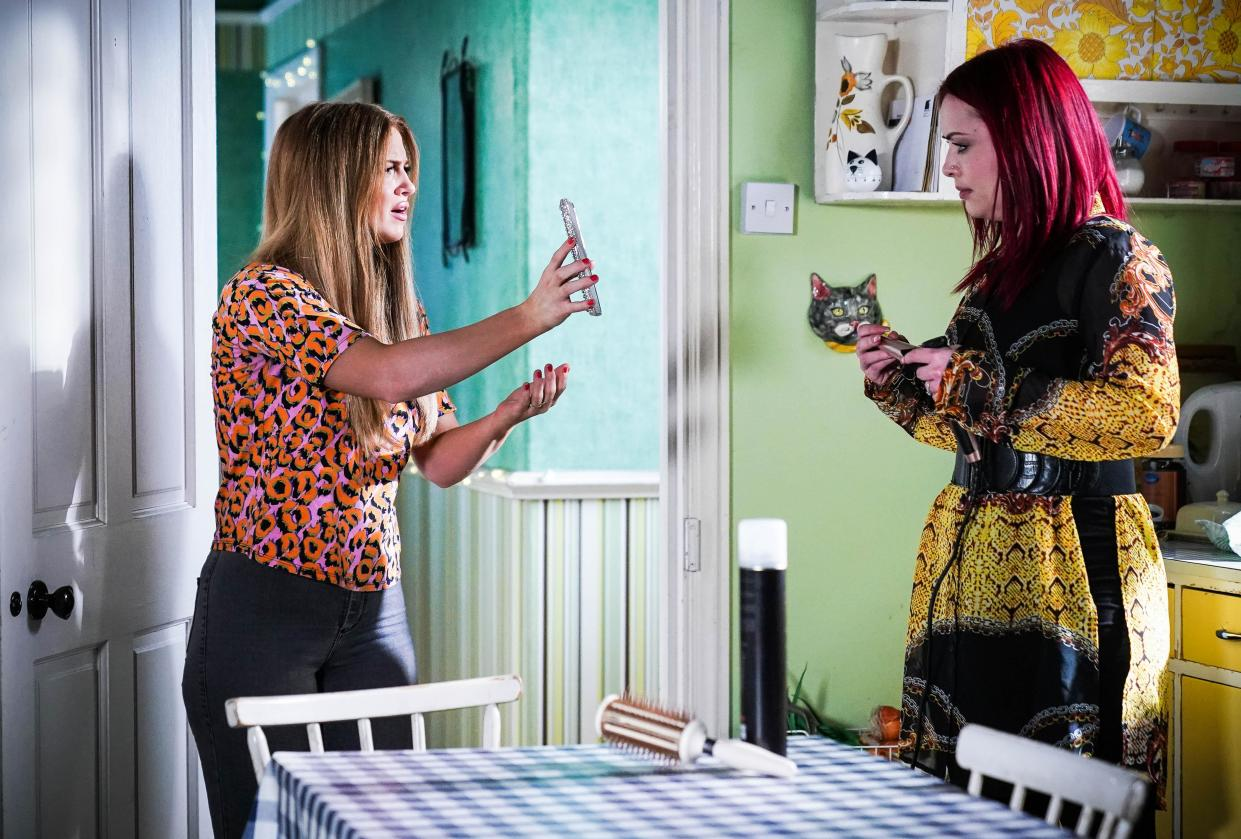 WARNING: Embargoed for publication until 00:00:01 on 20/07/2021 - Programme Name: EastEnders - July-September 2021 - TX: 30/07/2021 - Episode: EastEnders - July-September 2021 - 6316 (No. 6316) - Picture Shows: ***EMBARGOED TILL TUESDAY 20TH JULY 2021*** Tiffany Butcher (MAISIE SMITH), Whitney Dean (SHONA MCGARTY) - (C) BBC - Photographer: Kieron McCarron/Jack Barnes