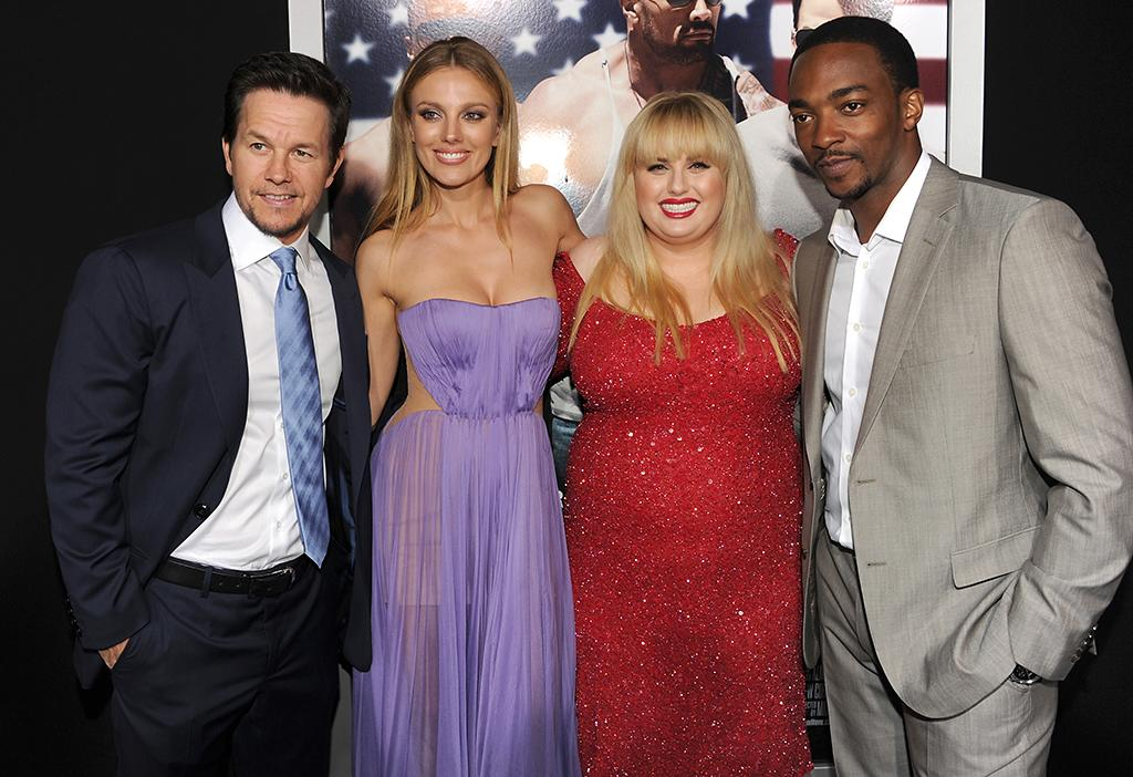 "Mark Wahlberg, Bar Paly, Rebel Wilson, and Anthony Mackie arrive at the premiere of Paramount Pictures'""Pain & Gain"" at TCL Chinese Theatre on April 22, 2013 in Hollywood, California.  (Photo by Kevin Winter/Getty Images for Paramount Pictures)"