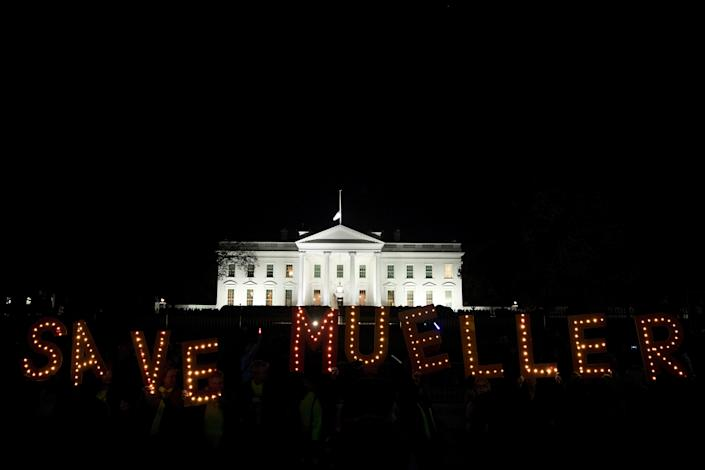 Amid speculation that Trump might fire Mueller, protesters gathered at the White House on Nov. 8 to support the special counsel.