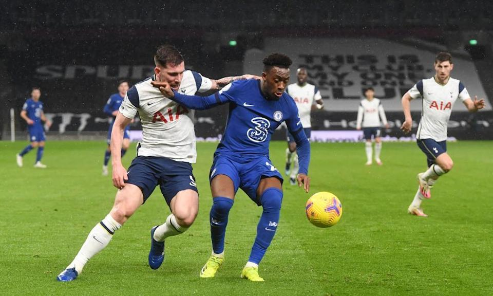 Callum Hudson-Odoi tussles with Pierre-Emile Højbjerg during Chelsea's game against Spurs.