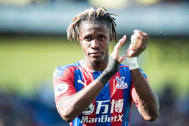 LONDON, ENGLAND - AUGUST 10: Wilfried Zaha of Crystal Palace reaction during the Premier League match between Crystal Palace and Everton FC at Selhurst Park on August 10, 2019 in London, United Kingdom. (Photo by Sebastian Frej/MB Media/Getty Images)