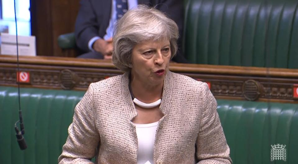Former prime minister Theresa May during a session in the House of Commons. (PA)