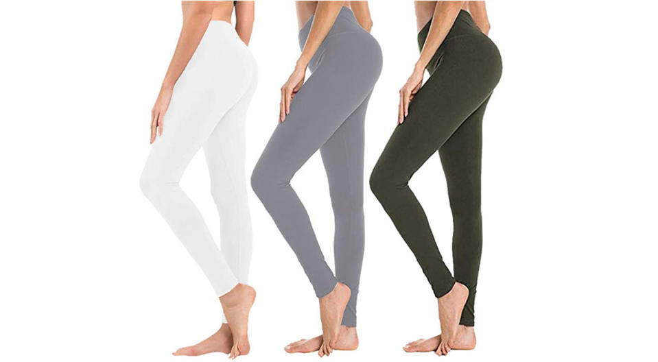 Syrinx High-Waisted Control Leggings come in a three-pack. (Photo: Amazon)