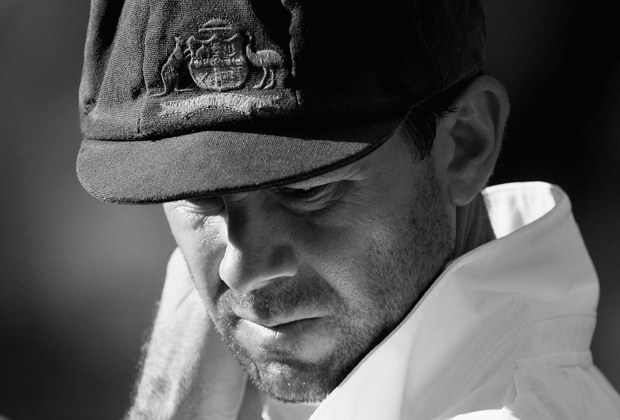 BRISBANE, AUSTRALIA - NOVEMBER 29:  (EDITORS NOTE: This Image Has Been Converted To Black & White) Australian captain Ricky Ponting looks on aftrer day five of the First Ashes Test match between Australia and England at The Gabba on November 29, 2010 in Brisbane, Australia.  (Photo by Hamish Blair/Getty Images)