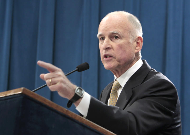 Gov. Jerry Brown discuss the proclamation he signed declaring the end to the prison overcrowding emergency, during a news conference at the Capitol in Sacramento, Calif., Tuesday, Jan. 8, 2013. Brown is challenging a federal court order for California to reduce its inmate population and is calling for federal judges to return control of prisons to the state. Brown's proclamation will allow the state to phase out the use of private out-of-state prison beds for California inmates starting in July of 2013.(Photo/Rich Pedroncelli)
