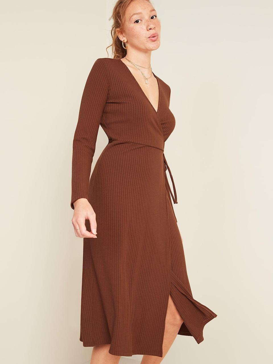 <p>Wear this <span>Rib-Knit V-Neck Midi Wrap Dress</span> ($36, originally $45) with loafers for a more polished look.</p>