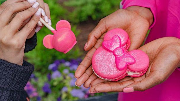 PHOTO: In this undated photo, the Imagination Pink cake pop and macaron from Disneyland Resort are shown. (Disney Parks)