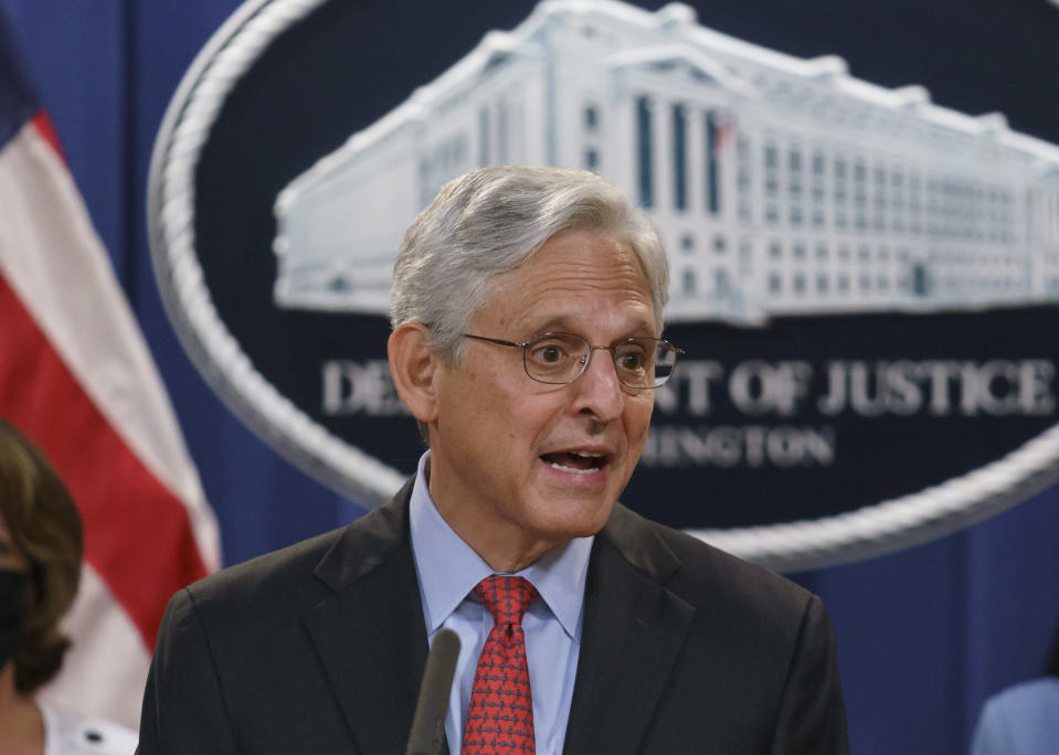 FILE - In this Sept. 9, 2021, file photo, Attorney General Merrick Garland announces a lawsuit to block the enforcement of a new Texas law that bans most abortions, at the Justice Department in Washington. The Texas abortion ban that so far has outmaneuvered Supreme Court precedent is the latest iteration of a legislative strategy used by Republican-led states to target pornography, gay rights and other hot-button cultural issues. But some are beginning to sound the alarm that the tactic of having enforcement done by citizens instead of government agencies could have a boomerang effect, pointing out that Democrats could use the same strategy on issues like gun control. (AP Photo/J. Scott Applewhite, File)