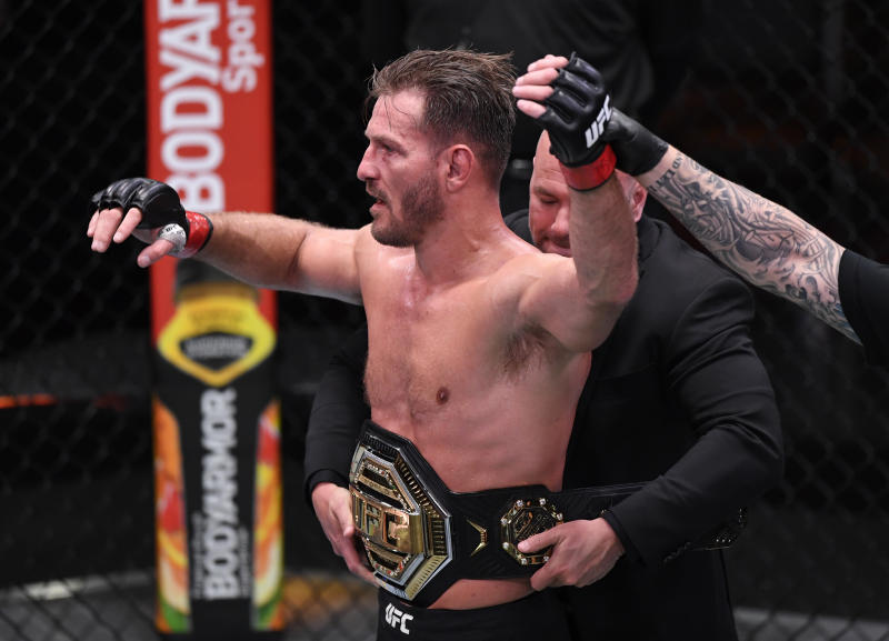 LAS VEGAS, NEVADA - AUGUST 15: Stipe Miocic celebrates after his victory over Daniel Cormier in their UFC heavyweight championship bout during the UFC 252 event at UFC APEX on August 15, 2020 in Las Vegas, Nevada. (Photo by Chris Unger/Zuffa LLC)