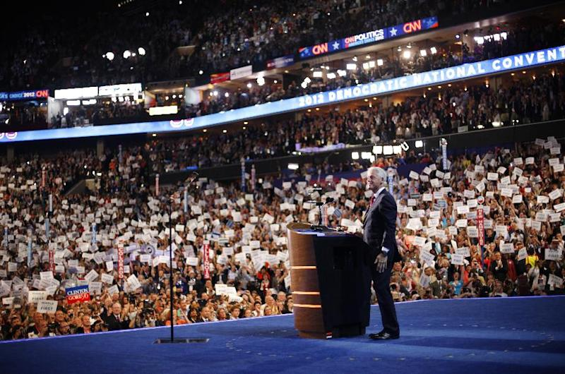Former President Bill Clinton looks up at the delegates before addressing the Democratic National Convention in Charlotte, N.C., on Wednesday, Sept. 5, 2012. (AP Photo/Pablo Martinez Monsivais)