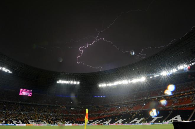 A lighting is pictured as the Euro 2012 championships football match Ukraine vs France is suspended due to heavy rainfall on June 15, 2012 at the Donbass Arena in Donetsk.     AFP PHOTO/ FRANCK FIFEFRANCK FIFE/AFP/GettyImages