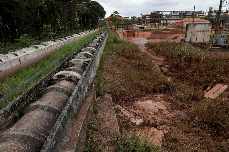 FILE PHOTO: Concrete pipes connecting the bauxite residue deposit to its water treatment station are pictured at the alumina refinery Alunorte, owned by Norwegian company Norsk Hydro ASA, in Barcarena