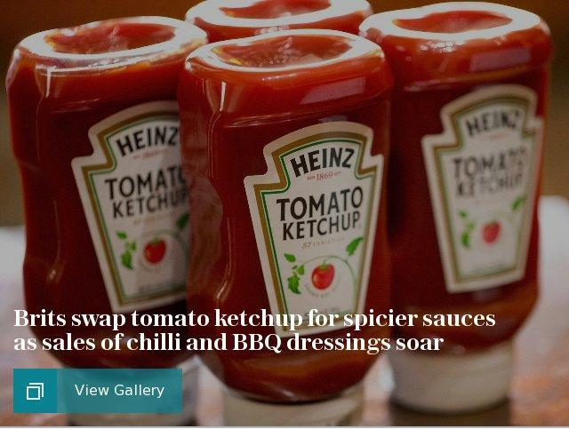 Brits swap tomato ketchup for spicier sauces as sales of chilli and BBQ dressings soar
