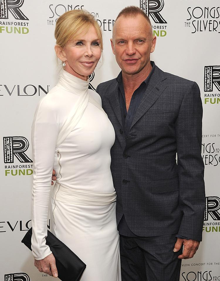NEW YORK, NY - APRIL 03:  Trudie Styler and Sting  arrive to the auction following the Revlon concert for The Rainforest Fund at The Pierre Hotel on April 3, 2012 in New York City.  (Photo by Dimitrios Kambouris/WireImage)