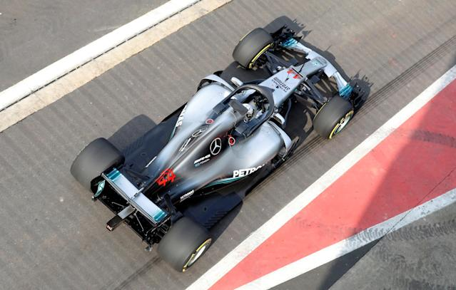F1 Formula One - Mercedes 2018 Car Launch - Silverstone Circuit, Towcester, Britain - February 22, 2018 Mercedes' Lewis Hamilton in the new car during the launch Action Images via Reuters/Matthew Childs