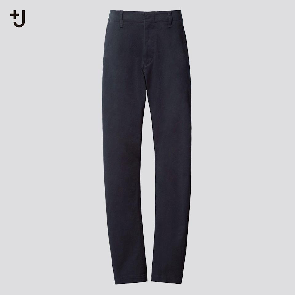 """<p><strong>Uniqlo</strong></p><p>uniqlo.com</p><p><strong>$59.90</strong></p><p><a href=""""https://go.redirectingat.com?id=74968X1596630&url=https%3A%2F%2Fwww.uniqlo.com%2Fus%2Fen%2Fmen-plusj-chino-pants-436120.html&sref=https%3A%2F%2Fwww.esquire.com%2Fstyle%2Fmens-fashion%2Fg34654836%2Funiqlo-j-jil-sander-collaboration-2020%2F"""" rel=""""nofollow noopener"""" target=""""_blank"""" data-ylk=""""slk:Buy"""" class=""""link rapid-noclick-resp"""">Buy</a></p><p>Expertly cut chinos with a hint of spandex. </p>"""