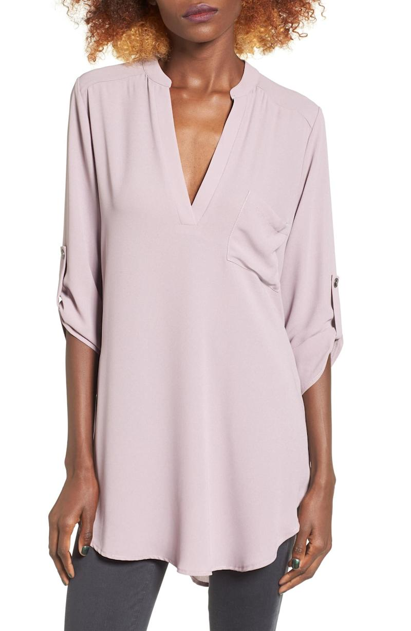 """This drapey blouse has 4,000 reviews and a 4.3-star rating. Normally $42, get it on sale for $25 at <a href=""""https://fave.co/2uY6J79"""" target=""""_blank"""" rel=""""noopener noreferrer"""">Nordstrom</a>. It's available in <a href=""""https://fave.co/2uY6J79"""" target=""""_blank"""" rel=""""noopener noreferrer"""">sizes XS to XXL</a>."""