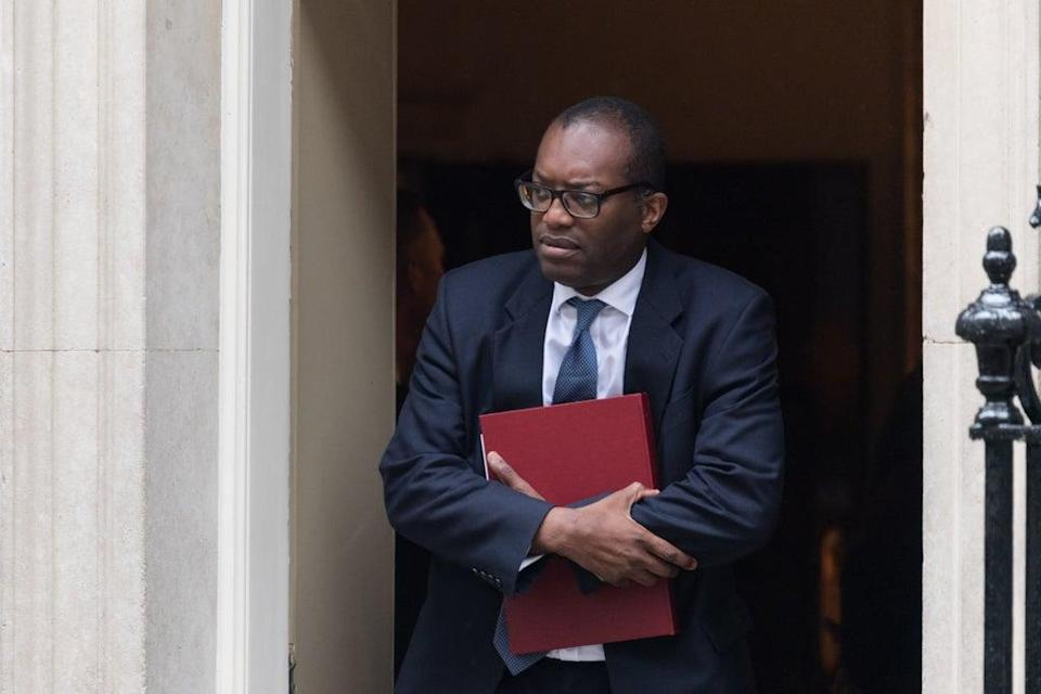 Secretary of State for Business, Energy and Industrial Strategy Kwasi Kwarteng leaves Downing Street after attending the weekly Cabinet meeting (Anadolu Agency via Getty Images)