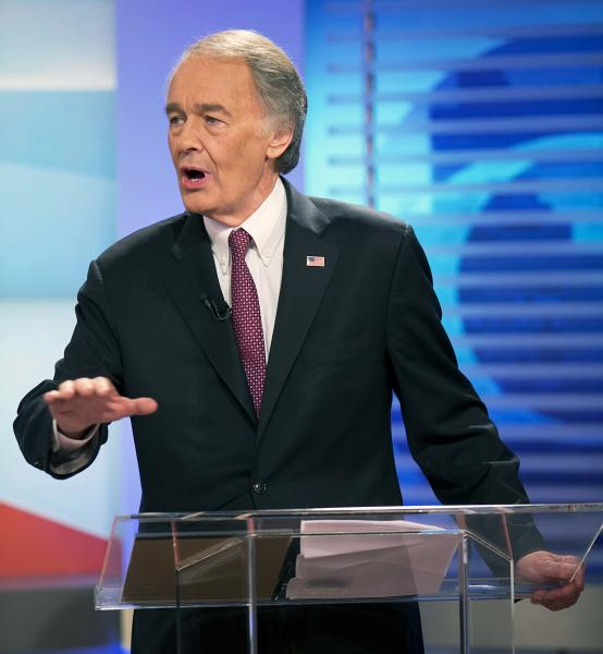 U.S. Senate candidate Democrat Edward Markey gestures during a debate, Wednesday, June 5, 2013 in Brighton, Mass. Democrat Edward Markey and Republican Gabriel Gomez have clashed in their first debate in Massachusetts special U.S. Senate election, with each candidate trying to portray the other as out of step with ordinary citizens. (AP Photo/The Boston Globe, Yoon S. Byun, Pool)