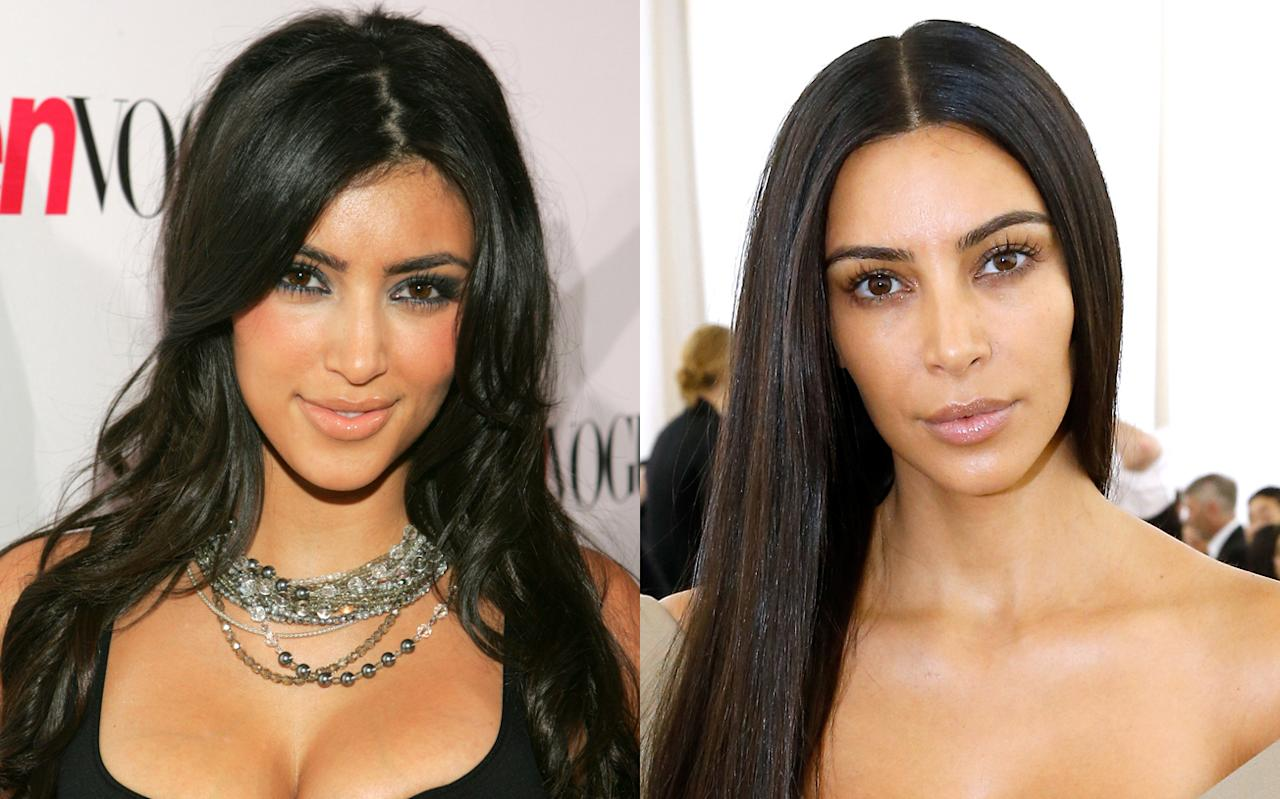 "<p>Kim Kardashian has been coined the ""Queen of the Contour"" in past years, but now you can catch her occasionally showing off cleaner, no makeup-makeup looks as well as sleek, straight hair. (Photo: Getty Images) </p>"