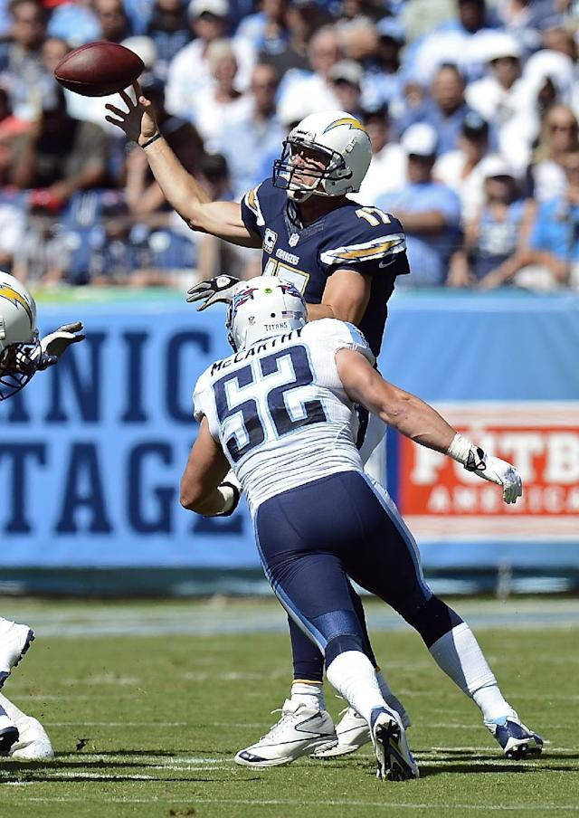 San Diego Chargers quarterback Philip Rivers (17) throws under pressure by Tennessee Titans linebacker Colin McCarthy (52) in the first quarter of an NFL football game on Sunday, Sept. 22, 2013, in Nashville, Tenn. (AP Photo/Mark Zaleski)