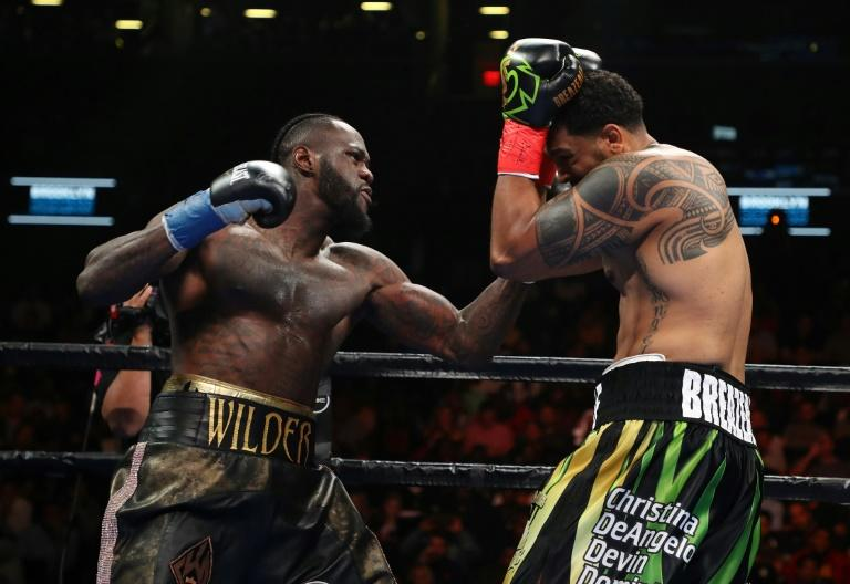 Deontay Wilder, who has one of the most destructive right hands in heavyweight history, floored Dominic Breazeale with 43 seconds left in the opening round