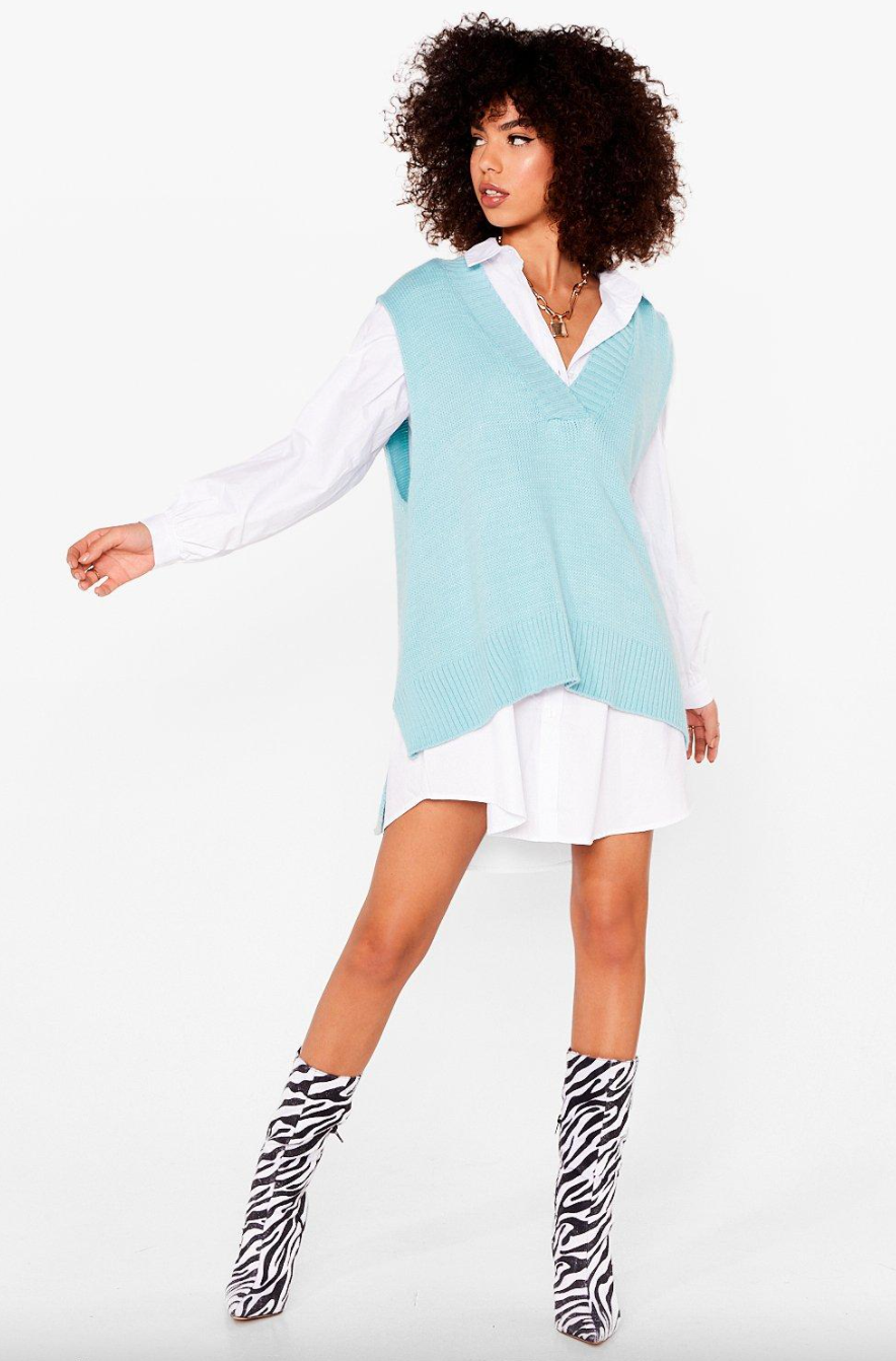 Nasty Gal Knit's My Time to Shine Oversized Tank Top in Mint (Photo via Nasty Gal)