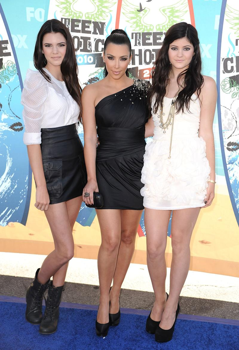 Kendall Jenner, Kim Kardashian, and Kylie Jenner at the Teen Choice Awards in Universal City, California, August 2010.