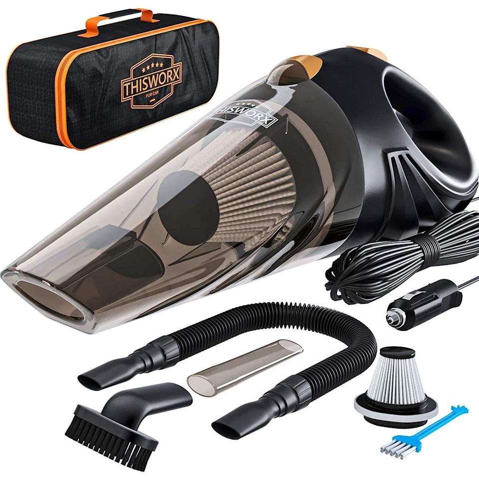<p>We all know how messy cars can get, and if you can't stand the dirt, clean up with the <span>ThisWorx Car Vacuum</span> ($35, originally $45).</p>