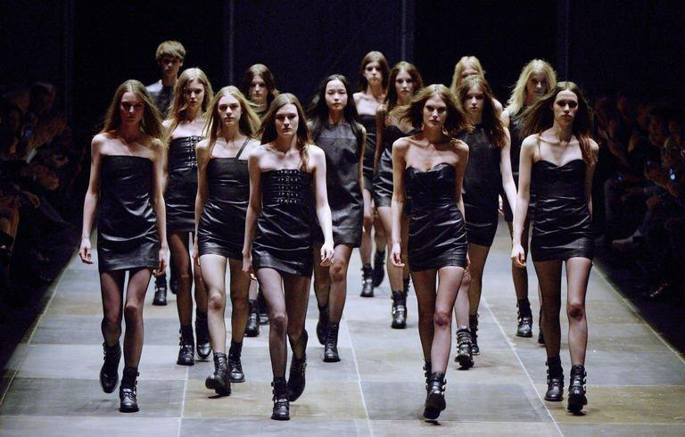 Models present creations for Saint Laurent during the Fall/Winter 2013-2014 collection show on March 4, 2013 in Paris