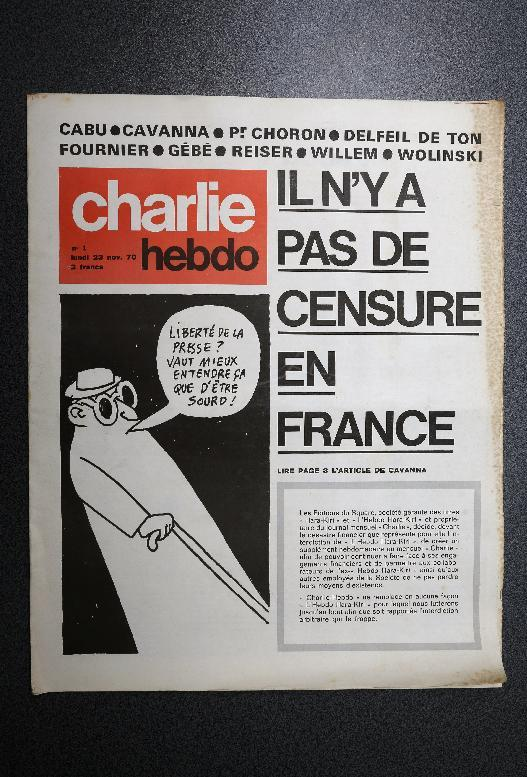 """The first issue of the Charlie Hebdo weekly on November 23, 1970, headlining """"There is no censorship in France,"""""""
