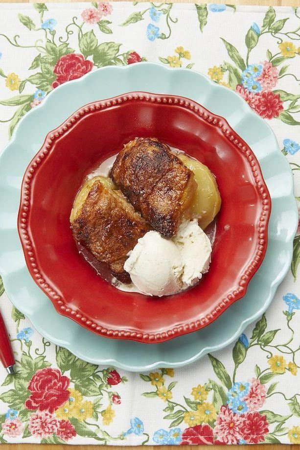 """<p>The secret to this apple dessert is a can of Mountain Dew. """"The Mountain Dew, coupled with the obscene amount of butter, creates a yummy, sweet sauce in the end,"""" Ree says.<br></p><p><strong><a href=""""https://www.thepioneerwoman.com/food-cooking/recipes/a10228/apple-dumplings/"""" rel=""""nofollow noopener"""" target=""""_blank"""" data-ylk=""""slk:Get the recipe."""" class=""""link rapid-noclick-resp"""">Get the recipe.</a></strong> </p>"""
