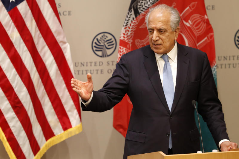 FILE - In this Feb. 8, 2019 file photo, Special Representative for Afghanistan Reconciliation Zalmay Khalilzad speaks on the prospects for peace at the U.S. Institute of Peace, in Washington. Afghanistan's Taliban leaders agreed they wanted a deal with the United States, but some among them were in more of a hurry than others. Even before U.S. President Donald Trump cancelled a mysterious Camp David summit on Saturday, Sept. 7, 2019, the Taliban negotiators were at odds with the council of leaders, or shura, that rules the Islamic movement. (AP Photo/Jacquelyn Martin, File)