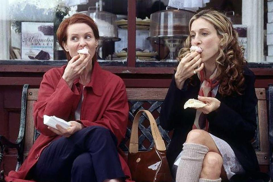 "<p>After airing the scene with Carrie and Miranda in season 3, episode 5 the bakery had to hire a bouncer because the spot <a href=""http://www.amny.com/secrets-of-new-york/secrets-of-magnolia-bakery-cupcakes-carrie-bradshaw-and-beyond-1.11744934"" rel=""nofollow noopener"" target=""_blank"" data-ylk=""slk:became so popular"" class=""link rapid-noclick-resp"">became so popular</a>. </p>"