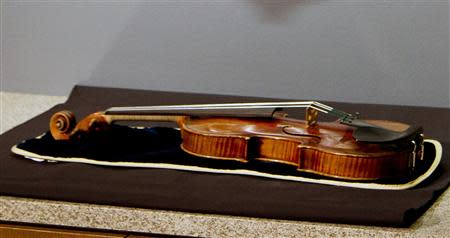 The 300-year-old Stradivarius violin that was taken from the Milwaukee Symphony Orchestra's concertmaster in an armed robbery is on display for the media after it was recently recovered, in Milwaukee