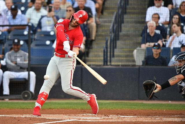 Philadelphia Phillies outfielder Bryce Harper has the best-selling jersey in Major League Baseball, according to figures announced by the league (AFP Photo/Mark Brown)