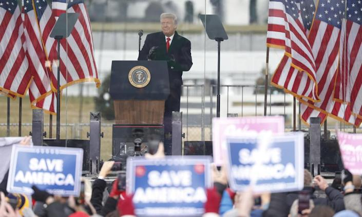 Donald Trump addresses supporters at the Ellipse in Washington, urging them to march on the Capitol.