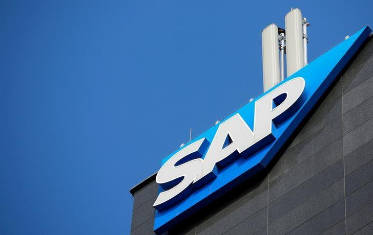 FILE PHOTO: The logo of German software group SAP is pictured in Vienna